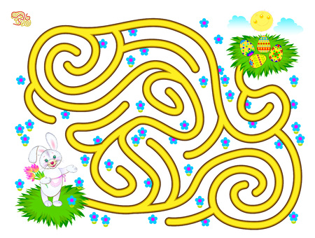 Logic puzzle game with labyrinth for children. Help the rabbit find the way till Easter egg. Printable worksheet for brainteaser book. Vector cartoon image. Banco de Imagens - 124090114