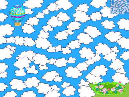 Logic puzzle game with labyrinth for children. Help the air balloon find the way to fly between the clouds and land in the meadow. Printable worksheet for brainteaser book. Vector cartoon image.