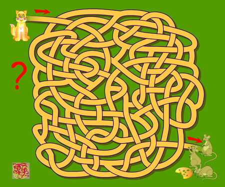 Logic puzzle game with labyrinth for children. Help the cat find the way till the mice. Printable worksheet for brainteaser book. Vector cartoon image. Banco de Imagens - 124090116