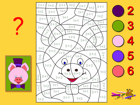 Educational page with exercises for children on addition. Need to solve examples and paint the portrait of a piglet in relevant colors. Developing skills for counting. Printable worksheet for kids. Ilustração