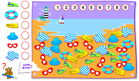 Printable educational page for kids. Count the quantity of objects on the beach and  write the numbers in circles. Worksheet for baby book. Logical puzzle game. Back to school. Banco de Imagens - 124090121