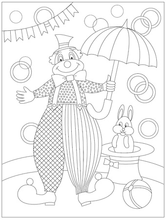 Black and white page for baby coloring book. Drawing of cute clown in circus. Printable pattern for kids. Worksheet for children and adults. Hand-drawn vector image.