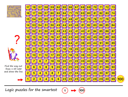 Logic puzzle game with labyrinth for children and adults. Find the way out from number 1 till 100 and draw the line. Printable worksheet for brainteaser book. Developing skills for counting.