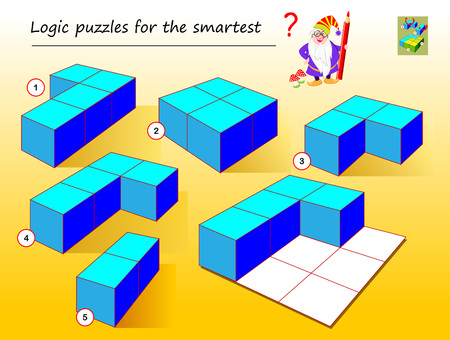 Logic puzzle game for smartest. Need to find which of geometrical figures need to use to complete empty places. Printable page for brainteaser book. Developing spatial thinking. Vector cartoon image.