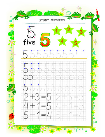 Educational page on square paper for kids with number 5. Printable worksheet for children textbook. Developing skills of counting, writing and tracing. Baby book. Back to school. Vector image.