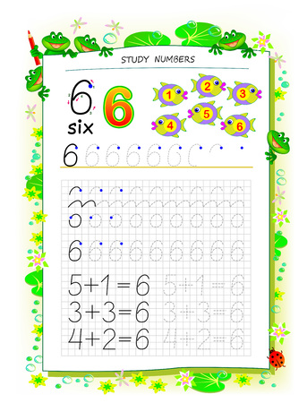 Educational page on square paper for kids with number 6. Printable worksheet for children textbook. Developing skills of counting, writing and tracing. Baby book. Back to school. Vector image. Ilustração
