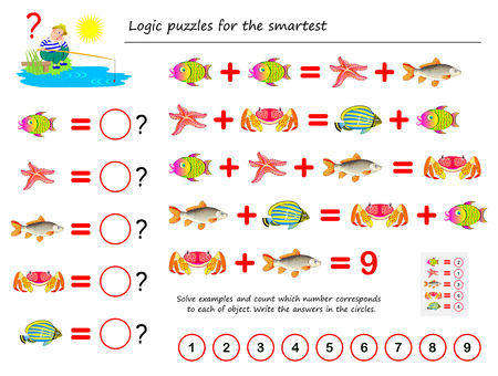Mathematical logic puzzle game for smartest. Solve examples and count the value of each fish. Write the numbers in circles. Printable page for brainteaser book. Developing spatial thinking.