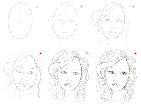 How to create step by step pencil drawing. Page shows how to learn step by step draw fantasy girls portrait. Print for artists school textbook. Developing skills for design. Hand-drawn vector image.
