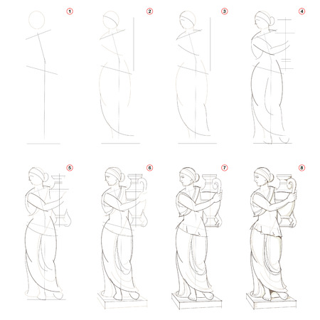 How to create step by step pencil drawing. Page shows how to learn step by step draw imaginary Greek women statue. Print for artists school textbook. Developing design skills. Hand-drawn vector image.