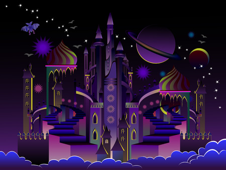 Illustration of fantastic futuristic eastern city at night time. Cover for kids fairy tale book. Poster for travel company. Imaginary fairyland space landscape. Modern print. Vector cartoon image.