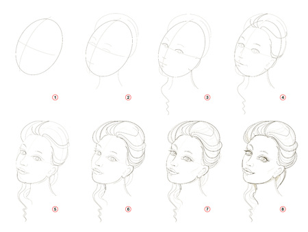How create step by step pencil drawing. Page shows how to learn successively draw imaginary beautiful girl. Print for artists school textbook. Developing skills for design. Hand-drawn vector image. Ilustração