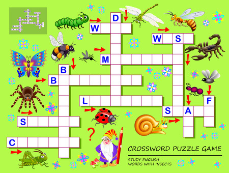 Crossword puzzle game for kids with cute insects. Educational page for children for study English words. Printable worksheet textbook. Back to school. Vector cartoon image. Banco de Imagens - 124090148