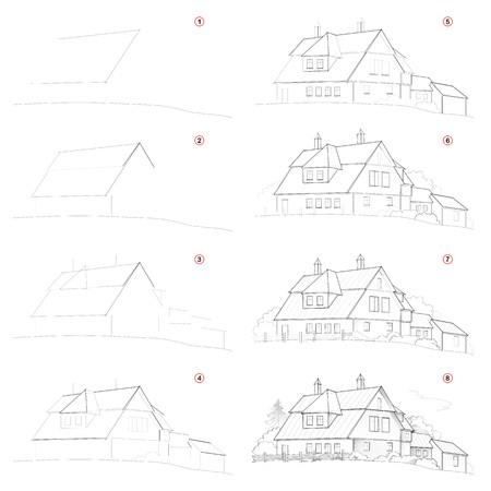 How create step by step pencil drawing. Page shows how to learn successively draw cute country house. Print for artists school textbook. Developing skills for design. Hand-drawn vector image. Ilustração