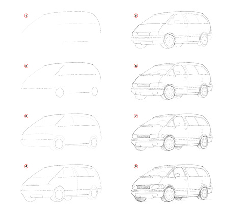 How create step by step pencil drawing. Page shows how to learn successively draw c passenger car. Print for artists school textbook. Developing skills for design. Hand-drawn vector image. Ilustração