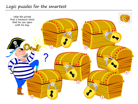 Logic puzzle game for smartest. Help the pirate find a treasure chest that he can open with his key. Printable page for brainteaser book. Developing spatial thinking. Vector cartoon image.