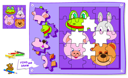 Logic puzzle game for kids. Need to find the place for each detail and paint animals heads. Worksheet for school textbook. Back to school. Development of children spatial thinking skills. Vector cartoon image.