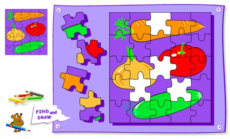 Logic puzzle game for kids. Need to find the place for each detail and paint vegetables. Worksheet for school textbook. Back to school. Development of children spatial thinking skills. Vector cartoon image. Çizim
