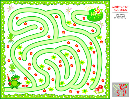 Logical puzzle game with labyrinth for little children. Help the frog find the way till the water lily. Printable worksheet for kids brainteaser book. Vector cartoon image.