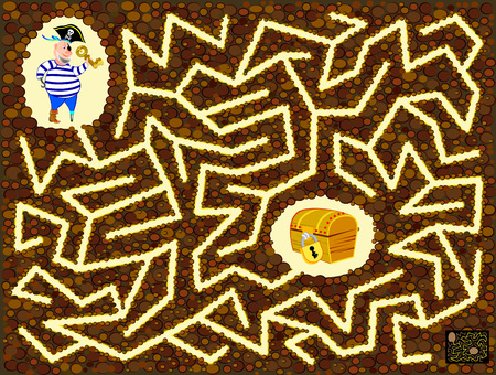 Logical puzzle game with labyrinth for children and adults. Help the pirate find the way till treasure chest. Printable worksheet for kids brainteaser book. Vector cartoon image.