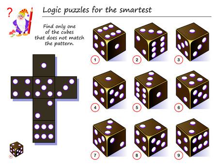 Juego de rompecabezas de lógica para los más inteligentes. Necesito encontrar solo uno de los cubos que no coincida con el patrón. Página imprimible para libro de rompecabezas. Desarrollando el pensamiento espacial. Imagen de dibujos animados de vector.