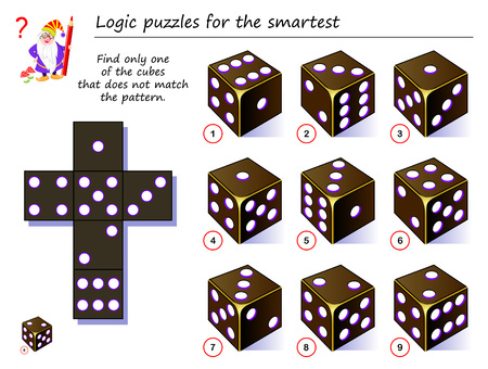Logic puzzle game for smartest. Need to find only one of the cubes that does not match the pattern. Printable page for brainteaser book. Developing spatial thinking. Vector cartoon image. Banque d'images - 125286814