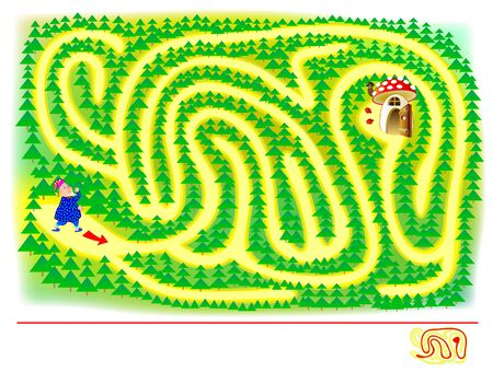 Logical puzzle game with labyrinth for children and adults. The cute gnome got lost. Help him find the way till his forest house. Printable worksheet for kids brainteaser book. Vector cartoon image.