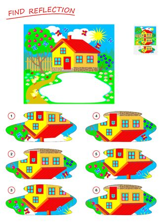 Logic puzzle game for kids. Need to find correct reflection in the lake and draw it. Printable page for brainteaser book. Developing children spatial thinking. Vector cartoon image.