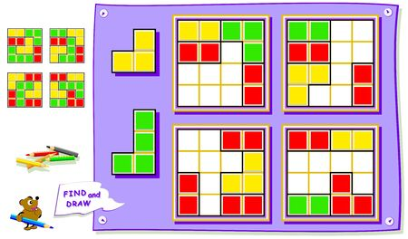 Logic puzzle game for baby book. Need to find the place for each detail in all squares and paint them. Worksheet for kids textbook. Back to school. Development of children spatial thinking skills. Çizim
