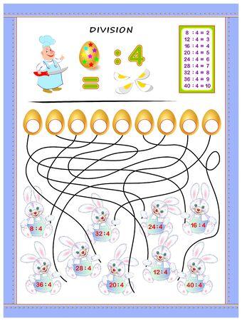 Ejercicios para niños con tabla de división por número 4. Resolver ejemplos y escribir respuestas en huevos. Página educativa para el libro de matemáticas para bebés. Hoja de trabajo imprimible para libros de texto para niños. De vuelta a la escuela.