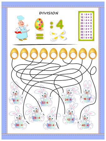 Exercises for kids with division table by number 4. Solve examples and write answers on eggs. Educational page for mathematics baby book. Printable worksheet for children textbook. Back to school.