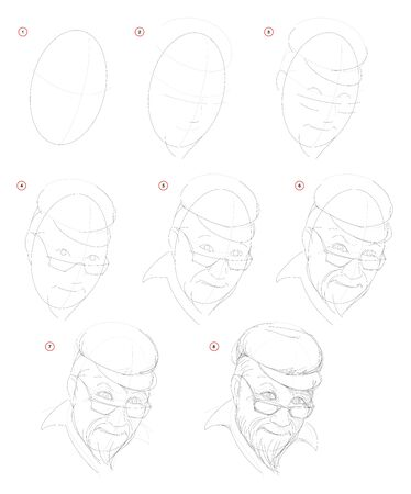 How create step by step pencil drawing. Page shows how to learn successively draw imaginary portrait of old man. Print for artists school textbook. Developing design skills. Hand-drawn vector image.