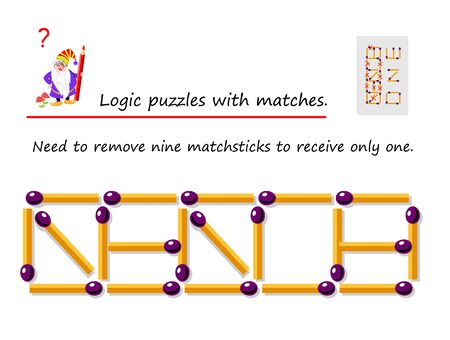 Logical puzzle game with matches. Need to remove nine matchsticks to receive only  one. Printable page for brainteaser book. Developing spatial thinking. Vector image.