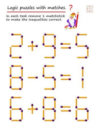 Juego de rompecabezas lógico con fósforos. En cada tarea, retire 1 fósforo para corregir las desigualdades. Página imprimible para libro de rompecabezas. Desarrollando el pensamiento espacial. Imagen vectorial.