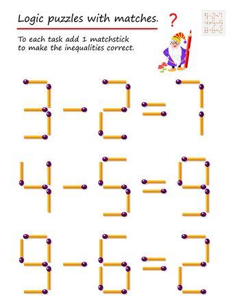 Juego de rompecabezas lógico con fósforos. A cada tarea, agregue 1 fósforo para corregir las desigualdades. Página imprimible para libro de rompecabezas. Desarrollando el pensamiento espacial. Imagen vectorial.
