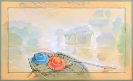 Oil painting on wood. Beautiful landscape with a boat on the river bank.