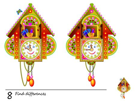 Logic puzzle game for children. Need to find 8 differences. Illustration of toy Cuckoo Clock. Printable page for baby brain-teaser book or kids magazine publishing. Developing skills for counting.