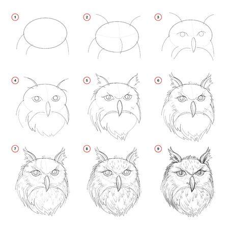 Création étape par étape dessin au crayon. La page montre comment apprendre à dessiner une esquisse de tête de chouette imaginaire. Imprimer pour les manuels scolaires d'artistes. Développer des compétences pour la conception. Image vectorielle dessinée à la main.