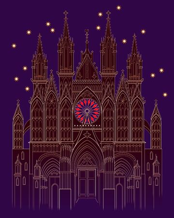 Illustration of a fantasy medieval Gothic castle at night time. Cover for kids fairy tale book. Poster for travel company. Imaginary fairyland landscape. Modern print. Vector cartoon image.