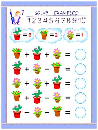 Educational page for children on addition and subtraction. Solve examples and write numbers in circles. Printable worksheet for kids textbook. Back to school. Vector cartoon image.