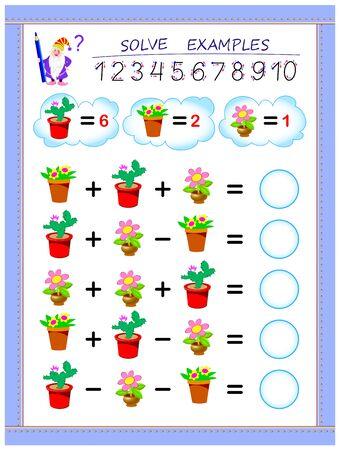 Strona edukacyjna dla dzieci na temat dodawania i odejmowania. Rozwiązuj przykłady i zapisuj liczby w kółkach. Arkusz do druku dla podręcznika dla dzieci. Powrót do szkoły. Wektor kreskówka obraz.