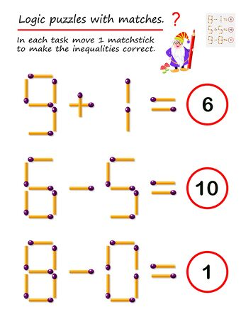 Logical puzzle game with matches. In each task move 1 matchstick to make the inequalities correct. Printable page for brainteaser book. Developing spatial thinking. Vector image.