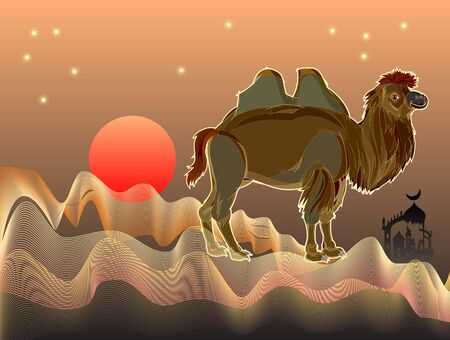 Fantasy illustration of cute Bactrian camel in desert with sand waves. Cover for fairy-tale book. Abstract background for poster for travel company. Printable vector cartoon image. Standard-Bild - 128272524