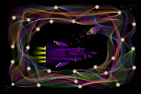 Fantasy illustration of futuristic spaceship traveling in space between stylized deep neural networks. Background for high tech digital technology. Print for scientific research. Vector image.