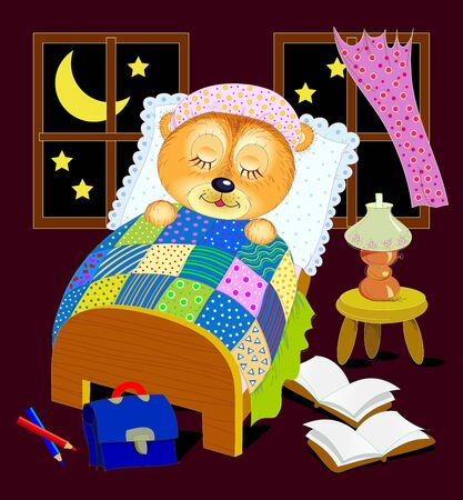 Illustration for baby book. Little teddy bear is sleeping at night in his bed after reading. Good night. Cover for children textbook. Back to school. Hand-drawn vector cartoon image.