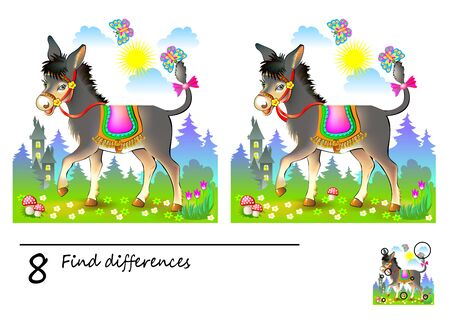 Logic puzzle game for children. Need to find 8 differences. Printable page for kids brainteaser book. Illustration of cute donkey in the meadow. Developing skills for counting. Vector cartoon image. Illustration