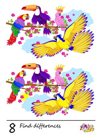 Logic puzzle game for children. Need to find 8 differences. Printable page for kids brainteaser book. Illustration of cute parrots in the jungle. Developing skills for counting. Vector cartoon image. Stockfoto - 127199861