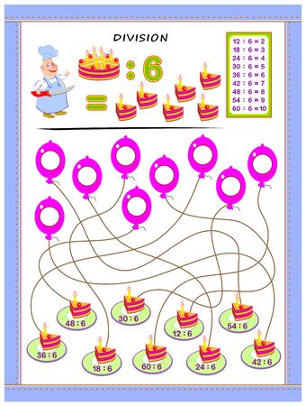 Exercises for kids with division table by number 6. Solve examples and write answers on balloons. Educational page for mathematics baby book. Printable worksheet for children textbook. Back to school.