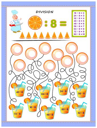 Exercises for kids with division table by number 8. Solve examples and write answers on bubbles. Educational page for mathematics baby book. Printable worksheet for children textbook. Back to school.