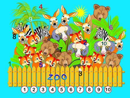 Ejercicio para niños pequeños. Necesito encontrar los números del 1 al 10 escondidos en la imagen entre animales. Juego de rompecabezas de lógica. Desarrollar habilidades para contar. Hoja de trabajo imprimible para libro de niños. Ilustración de vector