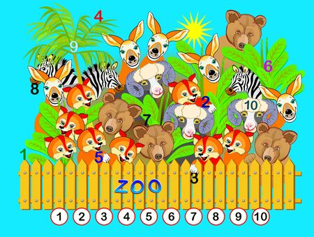 Exercise for young children. Need to find the numbers from 1 till 10 hidden in the picture between animals. Logic puzzle game. Developing skills for counting. Printable worksheet for kids book. 向量圖像